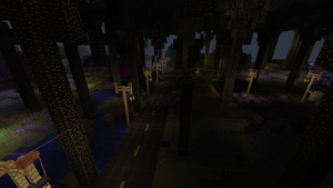 the road is done and powered street lamps installed its coming along swell